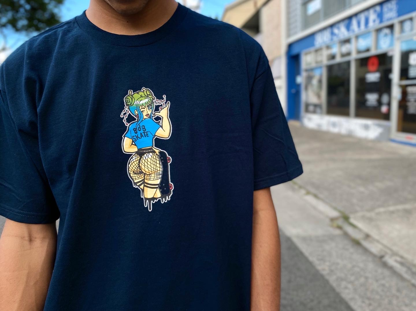 808 Skate Wink Tee now available in-store | online - Artwork by Wailani Morris